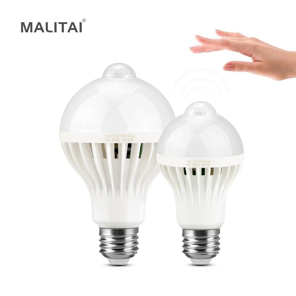 PIR Motion Sensor Night light Bulb E27 220V Build In light Sensor ...