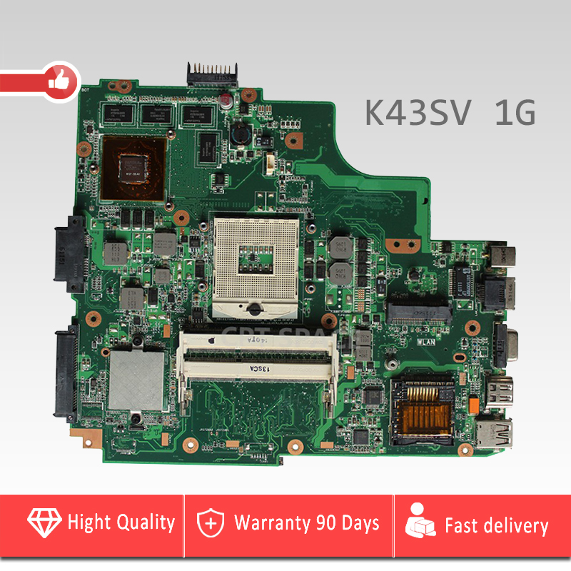 YTAI GT540M 1G for ASUS K43S K43SJ A43S X43S K43SM K43SV Laptop Motherboard REV:2.2 USB3.0 GT540M 1G Mianborad fully tested