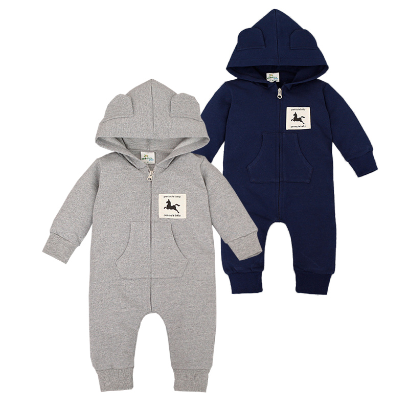 Baby Rompers Spring Autumn Hooded Overalls Cotton Newborn Baby Boys Clothes Long Sleeve Toddler Romper Warm Outfits Barboteuse maggie s walker baby rompers outfits boys long sleeve banana luxury organic cotton climb clothes toddler girls roupa infantil
