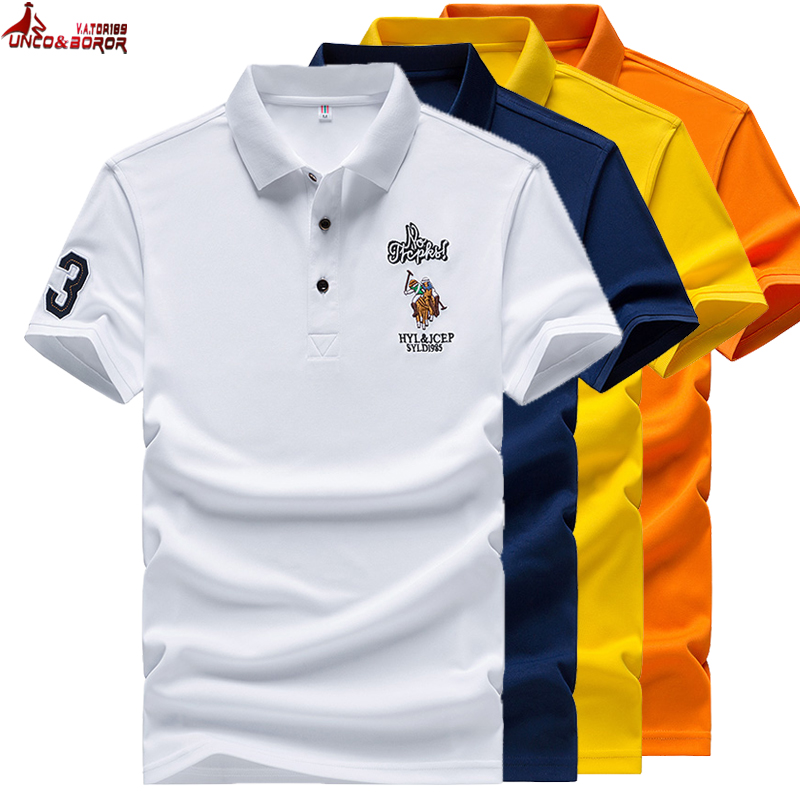 Summer embroidery Big horse men short sleeve Business Solid lapel   polo   shirt men Dress Shirt Brand Jersey   Polo   Hombre size M~4XL
