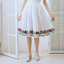 LYNETTE'S CHINOISERIE Spring and summer new arrival beautiful cross stitch fluid white fashion expansion bottom bust skirt