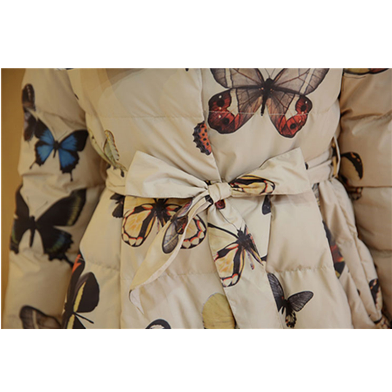 Long Veste Coton 2019 Manteau Plus Papillon La Épaissir Parkas Beige deep Taille Nouveau Moyen Imprimé Black D'hiver Mode Vestes Dames beige Femme aYErq0Yw