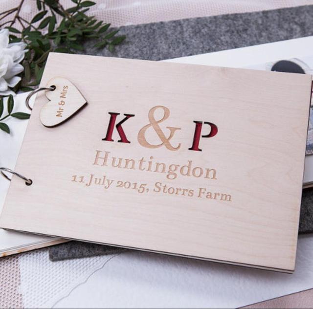 Initial Wedding Guestbook, Wood Wedding Guestbook, Engraved ...