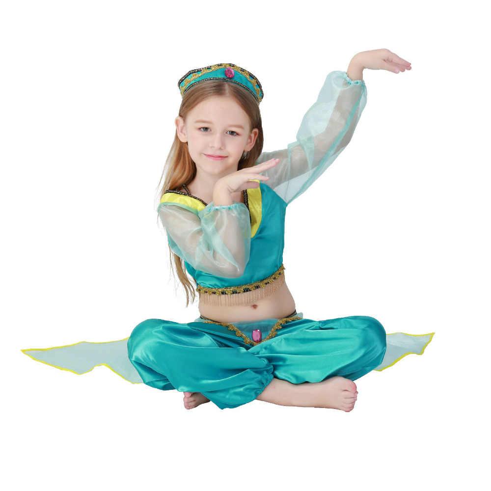 a82db1eeb ... Vocole Kid Aladdin Lamp Princess Jasmine Costume Girl Belly Dancing  Dancer Fancy Dress ...