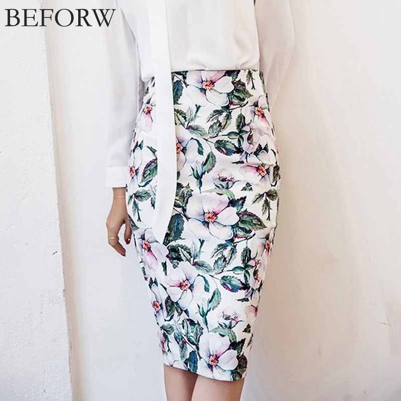 29eb50c2bb6 BEFORW Vintage High Waist Skirts Women Summer Office Pencil Skirt Fashion  Casual White Rose Flower Print Knee Skirt XXL Saia