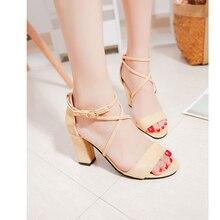 Rome sandals  women's summer 2017 new summer sweet pink students' heel and heel shoes women sandal