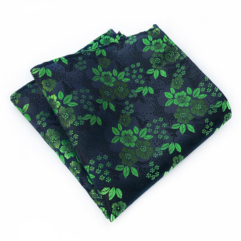 18Color Classic Luxury Men's Handkerchief Floral Printed Hankies Silk Polyester Hanky Business Pocket Square Chest Towel 25*25CM