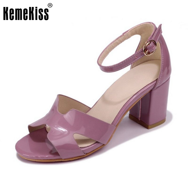 KemeKiss Size 34-43 Sexy Women Elegant High Heel Sandals Open Toe Ankle Strap Thick Heel Sandals Summer Club Shoes Women Sandals meotina shoes women sandals summer sexy stiletto high heel sandals open toe ankle strap party pumps lady shoes purple size 34 43