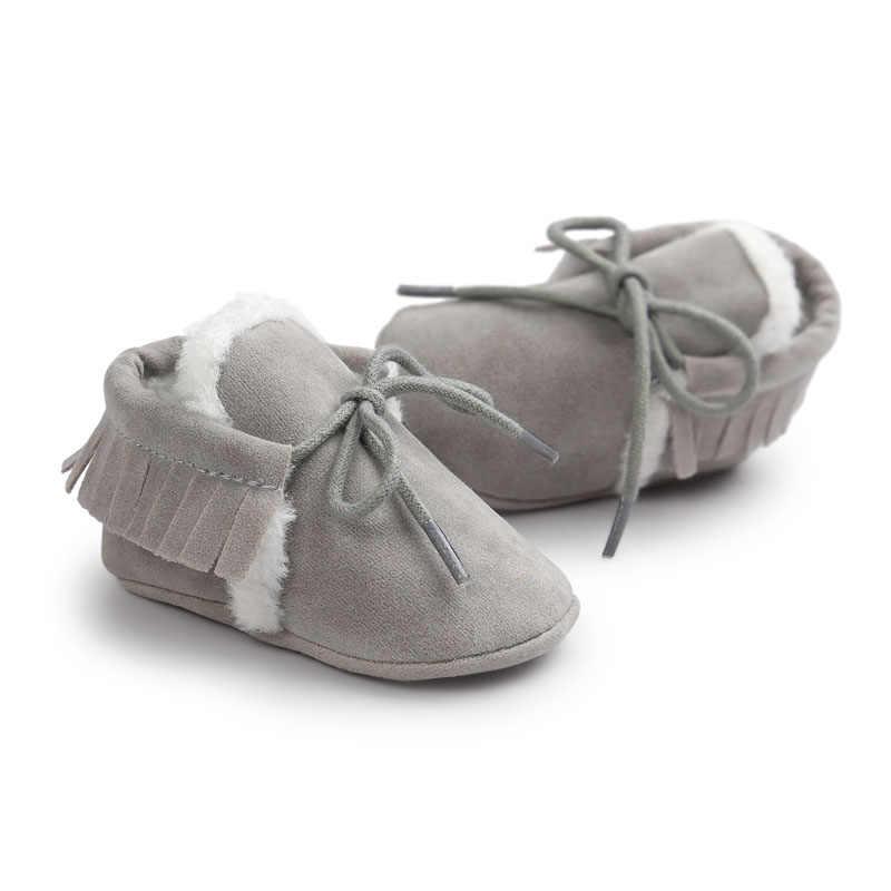 Yeni Marka Pu süet deri Toddler Bebek moccasins kış ile sıcak tutmak kürk Kar dantel-up Bebek ayakkabıları