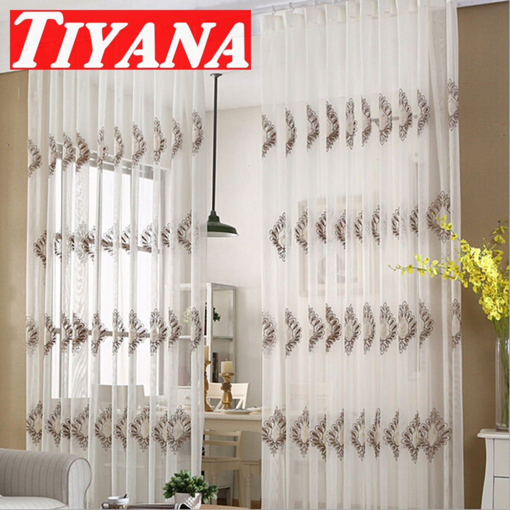 European white embroidered voile curtains bedroom sheer for Living room net curtains