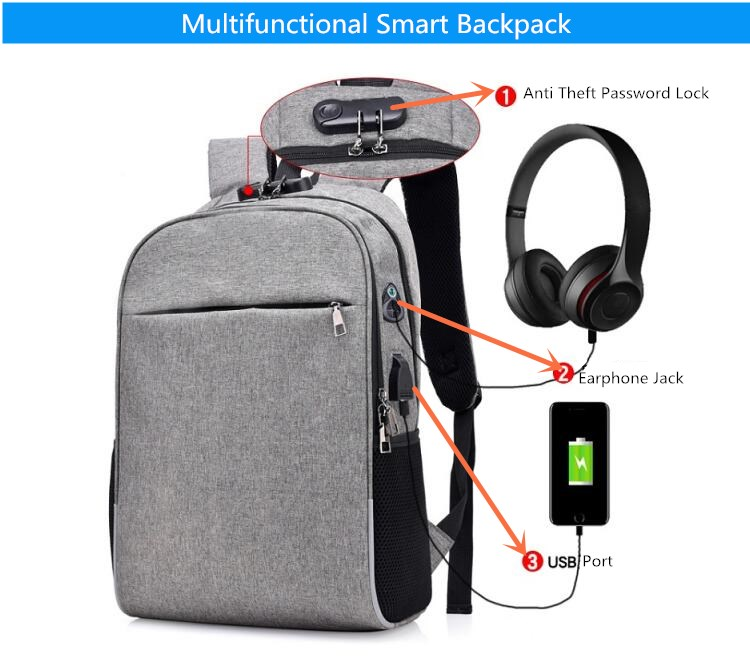 6dbfd69fa31 FengDong men smart backpack anti theft password lock back shoulder ...