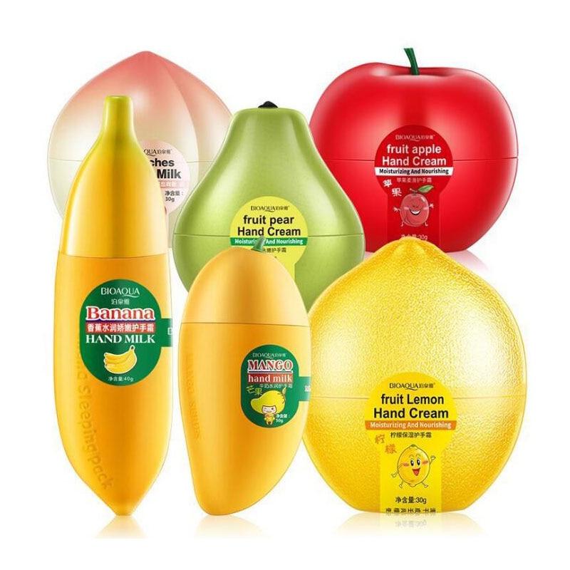BIOAQUA фрукты груша лимон персик манго банан увлажняющий, увлажнение крем для рук для Зимний уход за руками для питания кожи уход