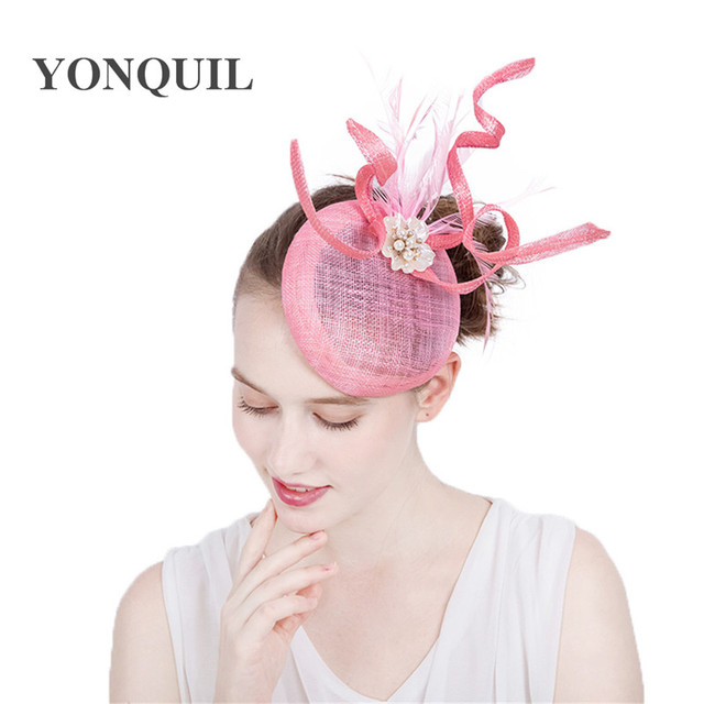 Ladies Fascinators Sinamay with pearl Racing Season Hats pink Wedding Hat  for Cocktail Party Event Occasion High Quality 17color d7baade2826