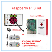 Wholesale Raspberry Pi 3 Model B board Pi3 kit+ 3.5″ LCD HDMI Touch Screen + 2 Raspberry PI USB Gamepads for XP Vista L3EF