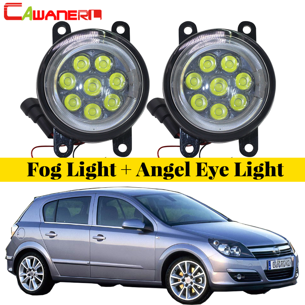 Cawanerl Car Accessories LED Bulb Fog Light Angel Eye DRL Daytime Running Light 12V 2 Pieces For 1998-2010 Opel Astra G H cawanerl for honda insight 2010 2014 car accessories 2in1 led fog light drl daytime running lamp white 5000k 12v 2 pieces