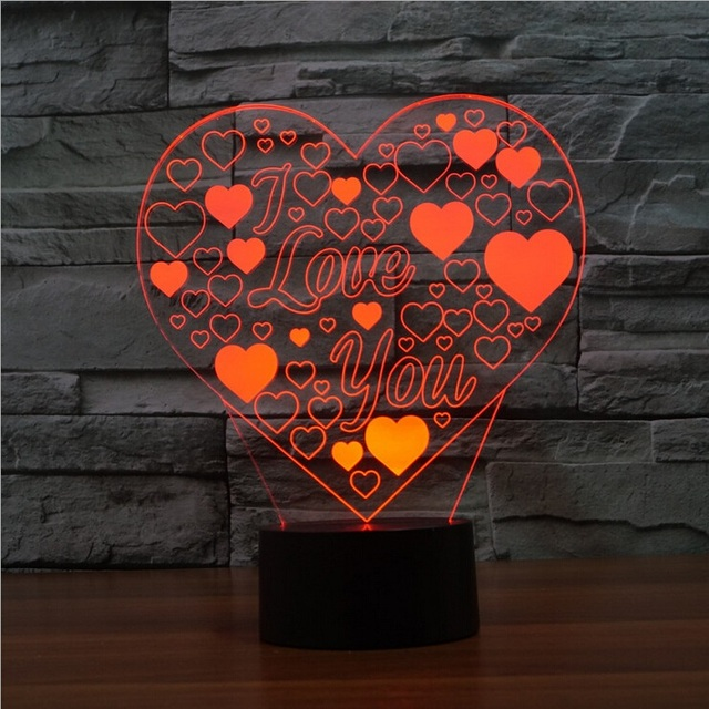 I Love You Quote Color Change Night Light Lamp 3D Heart Balloons LED  Lighting Romantic Decor