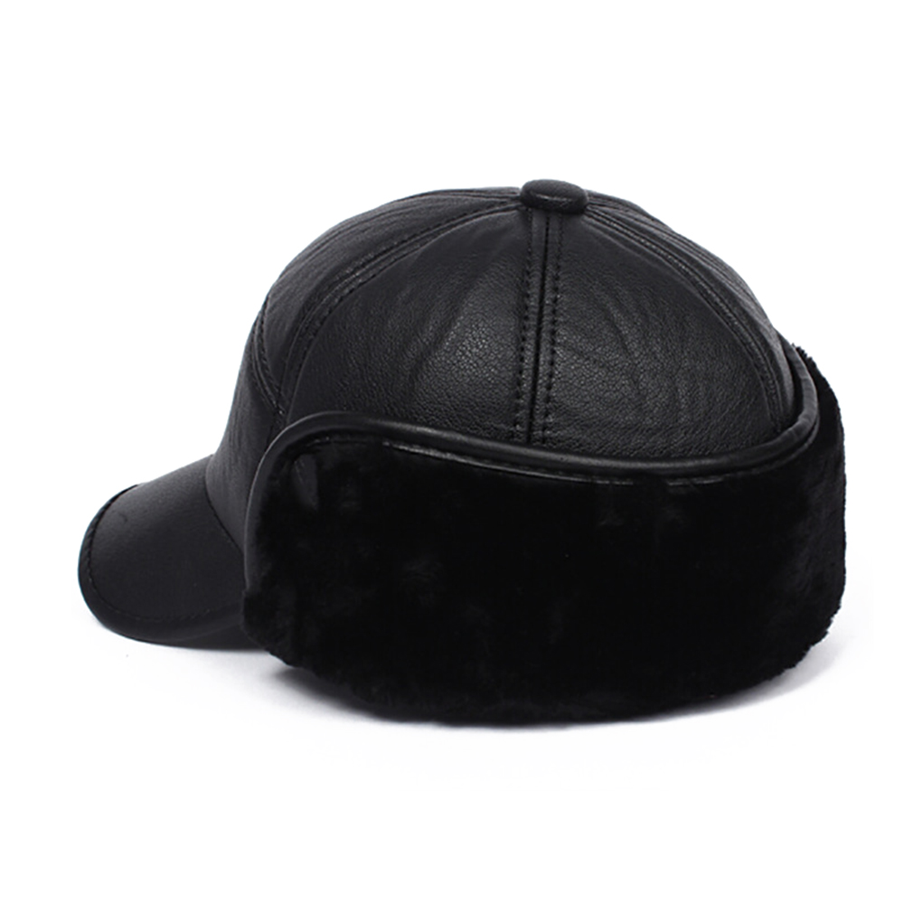 008cf30e074 Aliexpress.com   Buy Winter Fall Elderly Men Faux Leather Baseball Bomber  Trapper Warm Thickened Baseball Cap With Ears for Men Thanksgiving Day Gift  from ...