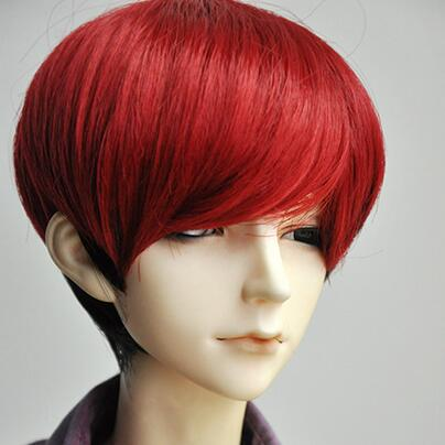 New 1/3 BJD SD Doll 8-9 21.5-23.5cm Doll Head Black Mix Red Handsome Fur Doll Wig new 1 3 22 23cm 1 4 18 18 5cm bjd sd dod luts dollfie doll orange black short handsome wig