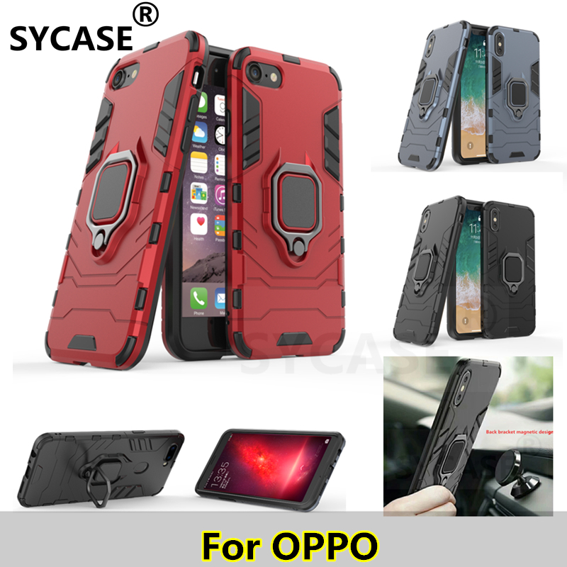 new product 90bc6 82d32 US $3.28 |SYCASE Armor case For OPPO F9 A39 anti fall bracket ring iron man  tpu+ PC fully enclosed case-in Fitted Cases from Cellphones & ...