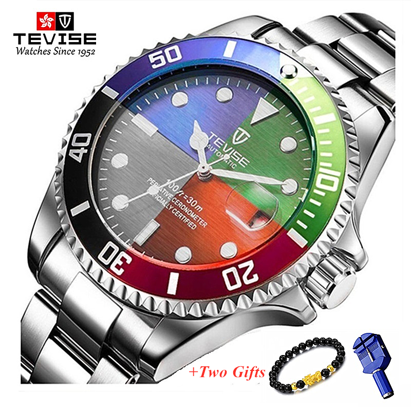 Tevise Luxury Waterproof Automatic Men Mechanical Watch Auto Date Full Steel Business Top Brand Man Watches Water Resistant T801-in Mechanical Watches from Watches