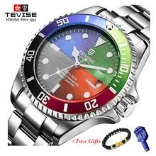 Tevise 高級防水自動メンズ機械式時計自動日付全鉄鋼事業トップブランドの男性は防水 T801