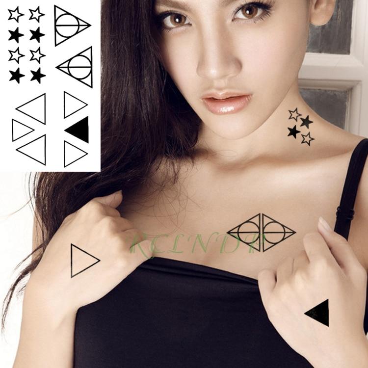 Waterproof Temporary Tattoo Sticker Triangle Stars Fake Tatto Flash Tatoo Tatouage Wrist Foot Hand For Girl Women Female Men