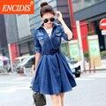 2017 Новая Коллекция Весна Осень Denim Dress Женщины Мода Корейских Длинные рукава Sexy V-образным Вырезом Плиссированные Тонкий Мини Джинсы Повседневные Платья Синий Q635