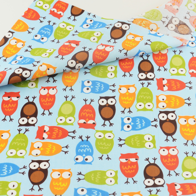 Blue Owls Cotton Fabric Patchwork Quilting Sewing Cloth Crafts Bedding Decoration Teramila Fabrics Tissue Home Textile Cute Bird