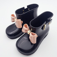 New 2017 Summer Mini Melissa Children Bow Boots Girls Jelly Water Boots Princess Shoes Anti Skid