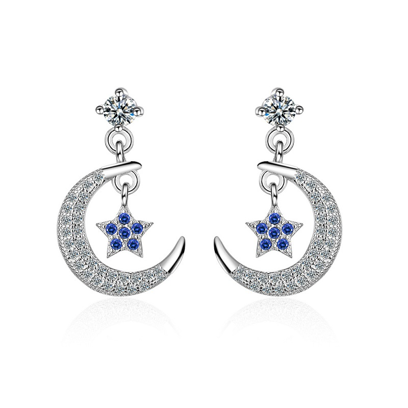 все цены на Women Fashion Earrings Stud Solid 925 Sterling Silver Wedding Jewelry Moon Star OL Lady's Cubic Zirconia Gorgeous Stud Earrings
