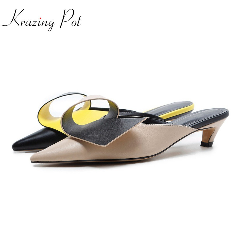 Krazing pot full grain leather brand shoes stiletto thin med heels women sandals office lady party flowers decorations mules L06 krazing pot shoes women full grain leather mules hollywood peep toe metal chain decorations sandals summer outside slippers l88