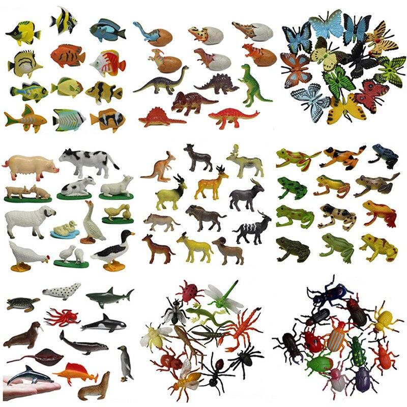 Дикий морской маленький фигурки животных игрушки динозавров модель животного на ферме насекомых Моделирование игрушки Фигурки Набор Фигу...