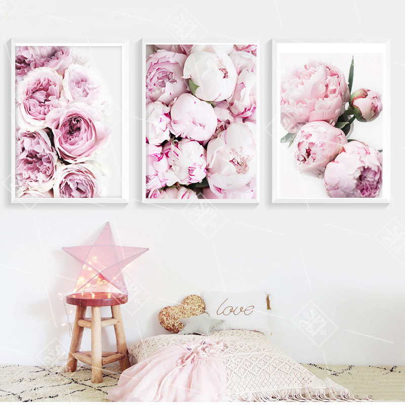 Nordic Minimalist Posters And Prints Pink Peony Flower Kids Room Decor Canvas Painting Wall Art Picture For Living Room No Frame