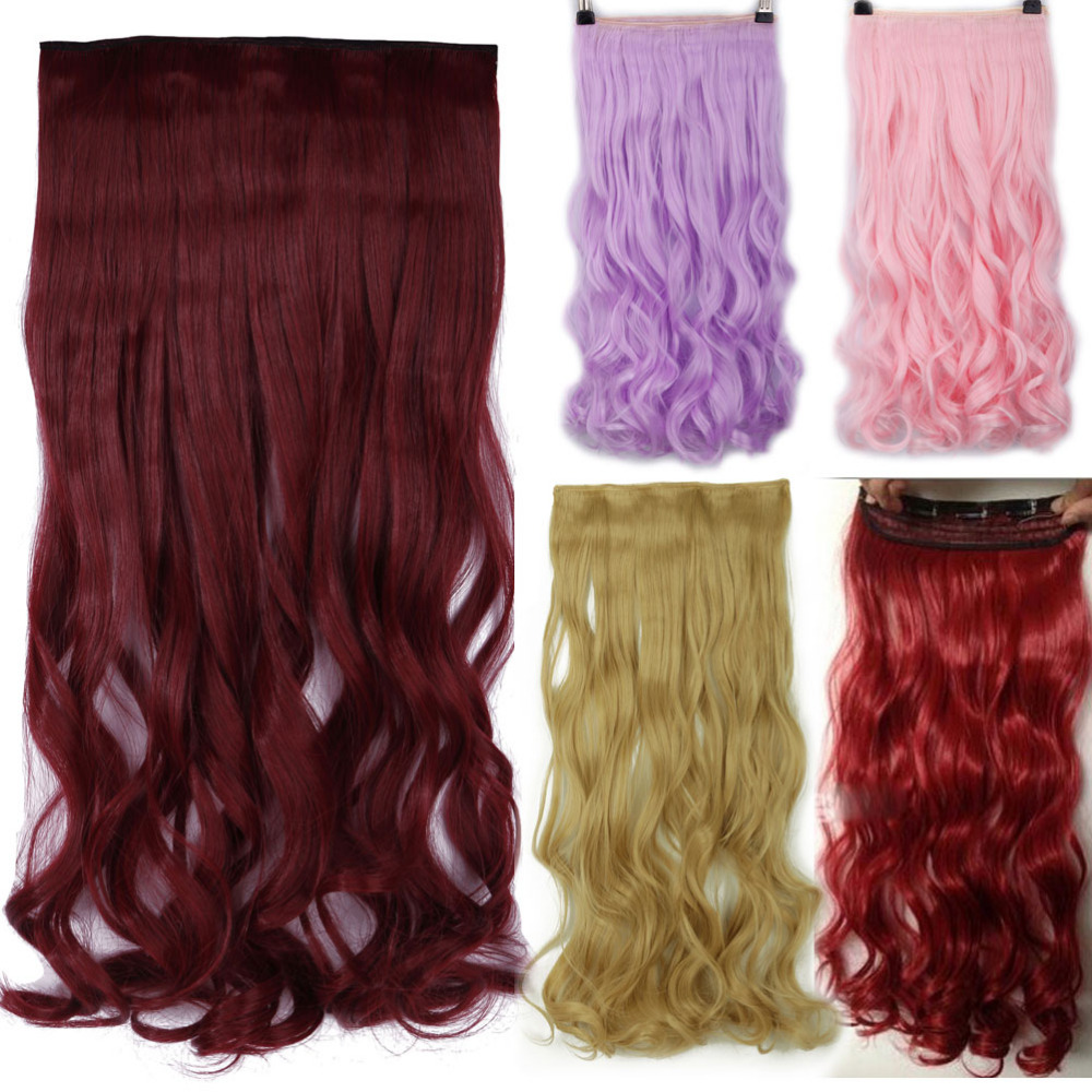 S-noilite 24 Inches Curly Clip In One Piece Hair Extensions One Piece 5 Clips Cosplay Synthetic Hair Red Pink Purple