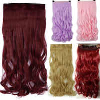 S-noilite 24 zoll Curly Clip in One Piece Hair Extensions One Piece 5 Clips Cosplay Synthetische Haar Rot rosa Lila