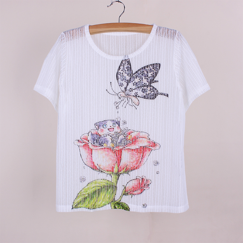 Butterfly flower print vogue women summer clothes the Girl t shirts design