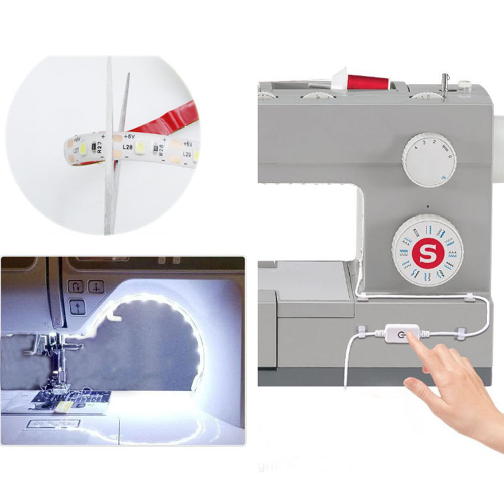 Dropship 2M USB Sewing Machine LED Light Strip Flexible Sewing Lights US/EU/UK Plug With Adhesive Clips