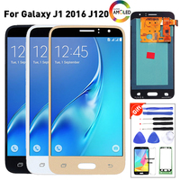 Amoled Lcd Screen For Samsung Galaxy J1 2016 J120F J120H J120M Lcds Display Touch Digitizer Assembly with brightness adjust