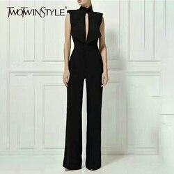 Женский комбинезон с открытой спиной TWOTWINSTYLE, без рукавов, с вырезами, с высокой талией, макси, широкие брюки, летняя офисная одежда для женщи...
