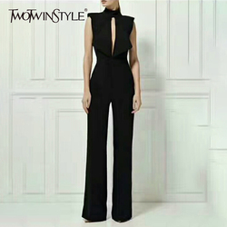 TWOTWINSTYLE Backless Jumpsuits Female Sleeveless Hollow Out Sexy High Waist Maxi Wide Leg Pants Women Summer Fashion OL Clothes
