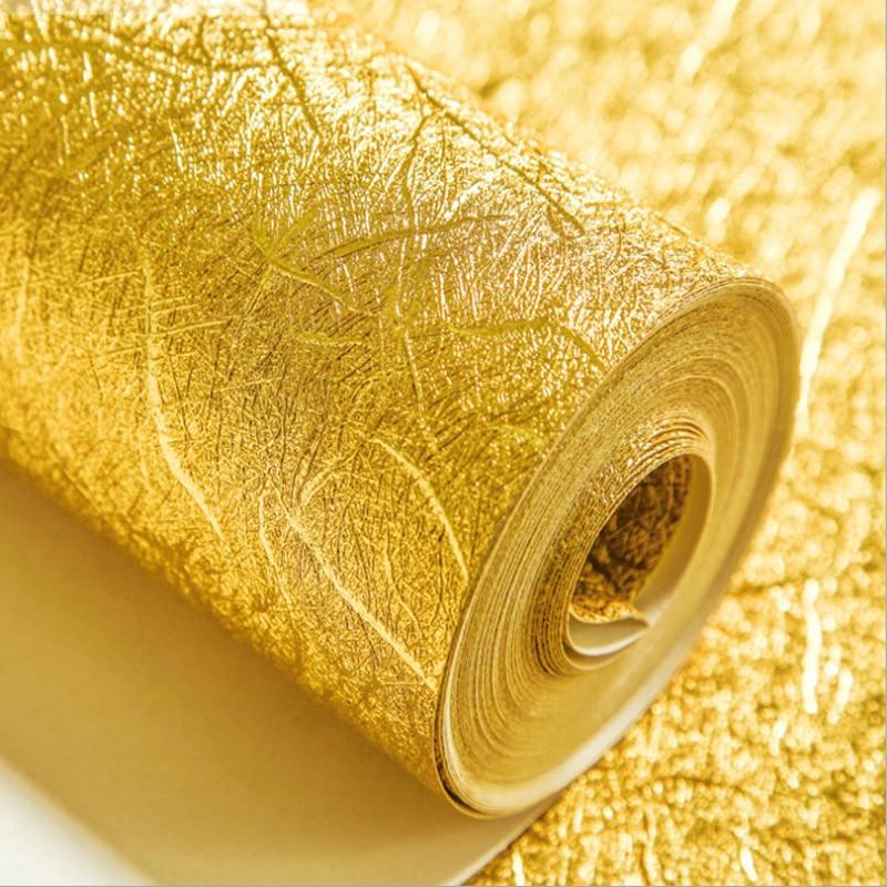 Modern Pvc 10m Colour Wallpaper Waterproof Decor Gold And