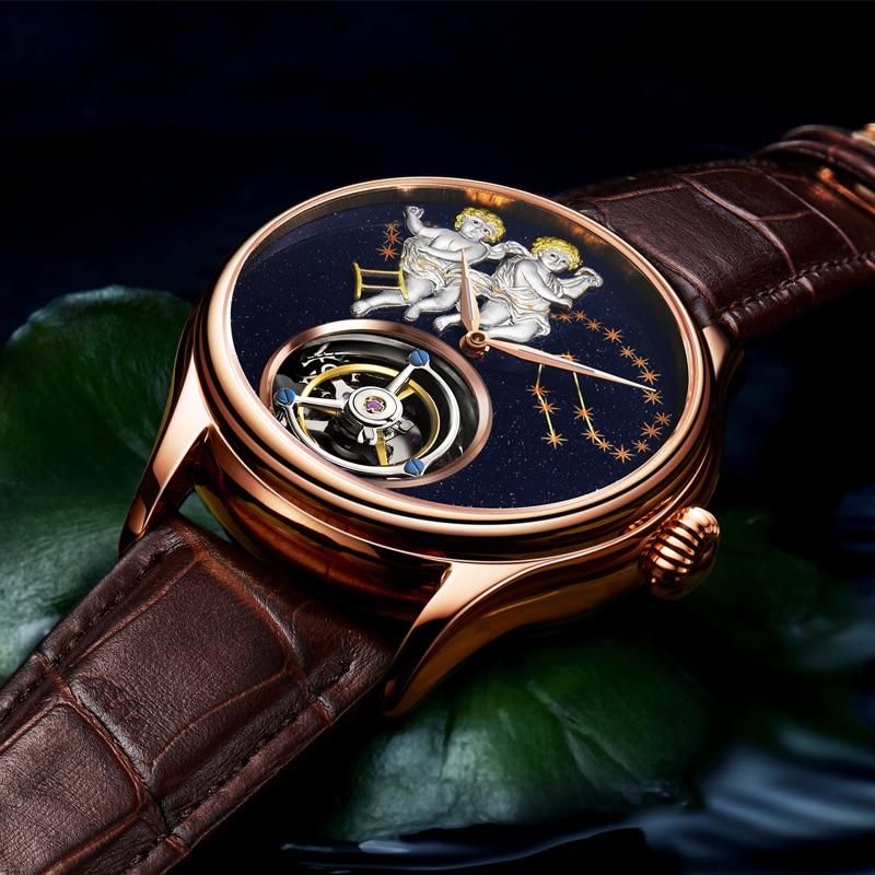 GUANQIN 2019 Real Tourbillon Mechanical Hand Wind Mens Watches Top Brand Luxury Gemini Clock men Gold Sapphire Relogio Masculino 3