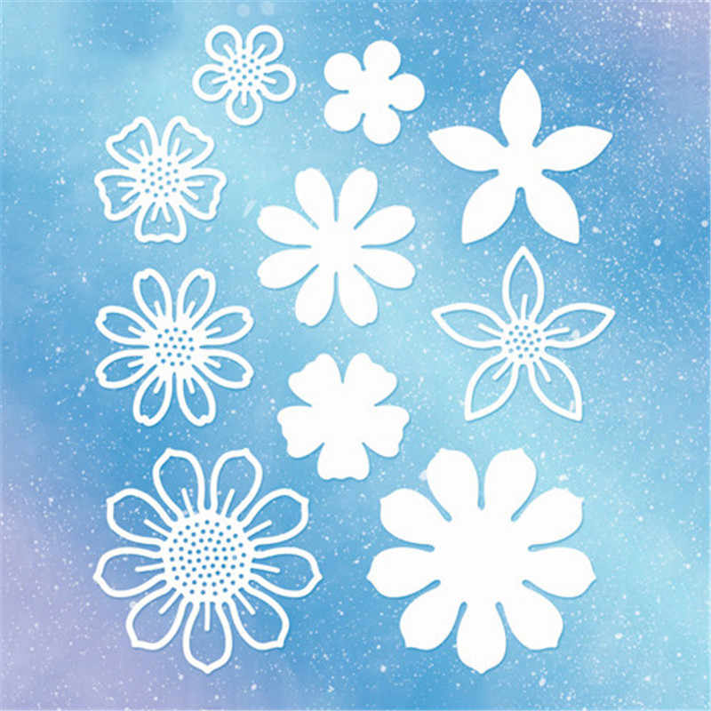 Naifumodo Flowers Cutting Dies Greeting Cards Scrapbooking Die 3D Stamp DIY Scrapbooking Card Photo Decoration Supplies Flowers