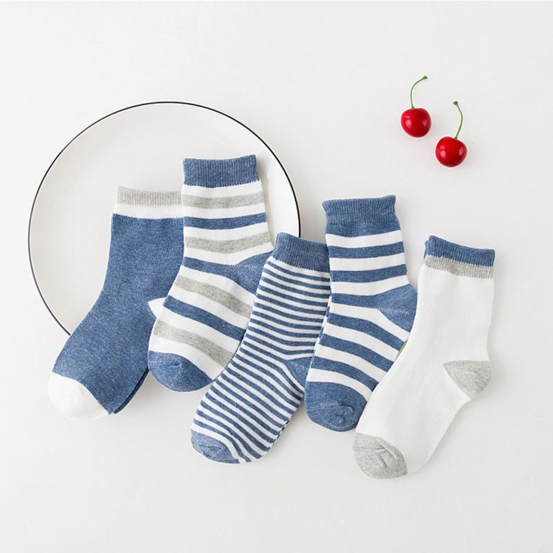5 Pair/lot Baby Boy Stripes Socks Soft Cotton Infant Socks Cute Cartoon Pattern Kids Socks For Baby Boy Blue Black