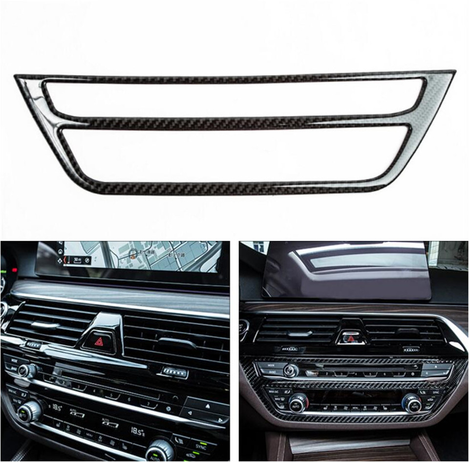 Central Console CD Control Cover For BMW 5 Series G30 2017 2018 Air Condition Switch Carbon Fiber Trim Frame