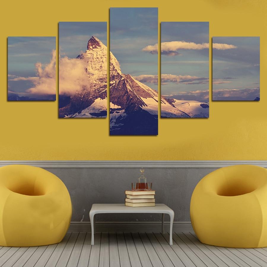 5 Pcs Family Decor Mountains Clouds Canvas Print Painting Home Decor ...