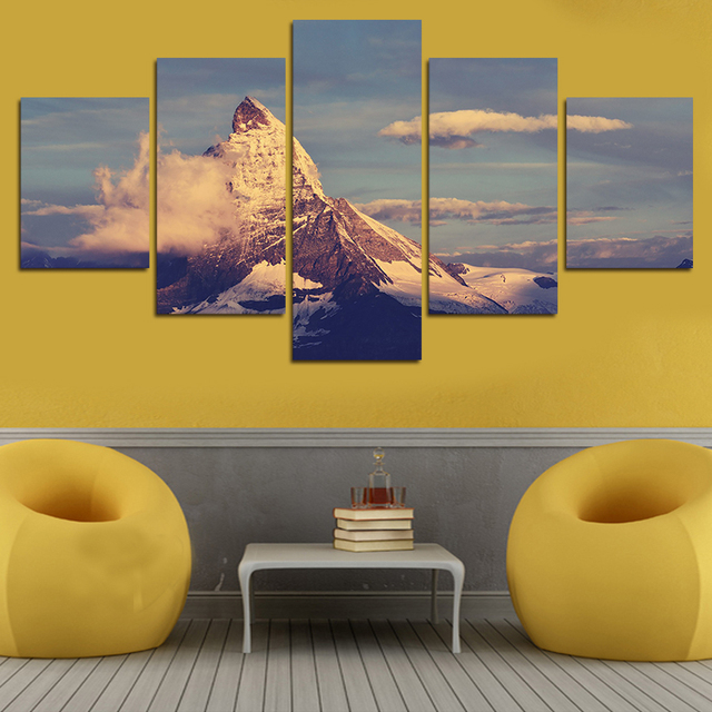 5 Pcs Family Decor Mountains Clouds Canvas Print Painting Home Decor ...