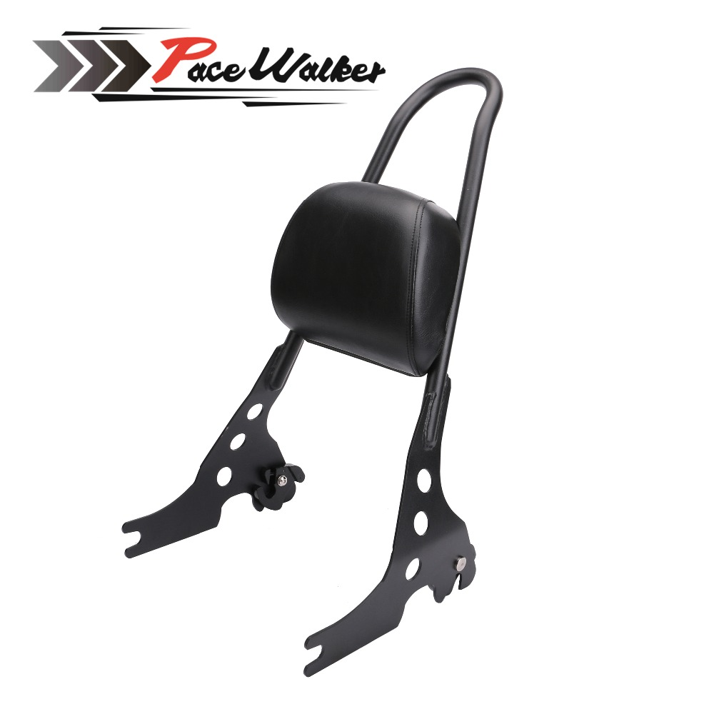 Motorcycle Black Luggage Rack Rear Passenger Backrest Sissy Bar Cushion Pad For Harley Sportster XL883 1200