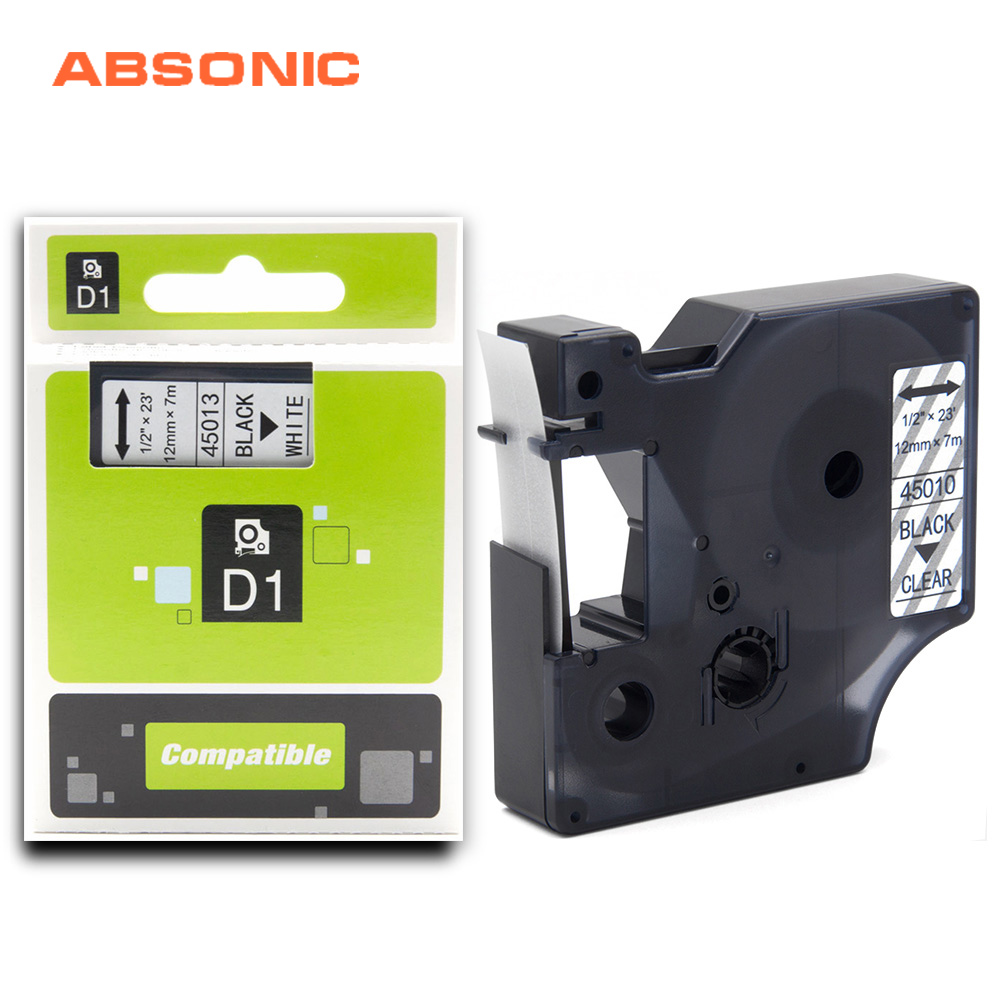 Absonic 12mm Compatible Dymo D1 Label Printer Ribbon Tape 45013 45012 45010 45018 for DYMO Label Maker LabelManager 160 280 260PAbsonic 12mm Compatible Dymo D1 Label Printer Ribbon Tape 45013 45012 45010 45018 for DYMO Label Maker LabelManager 160 280 260P