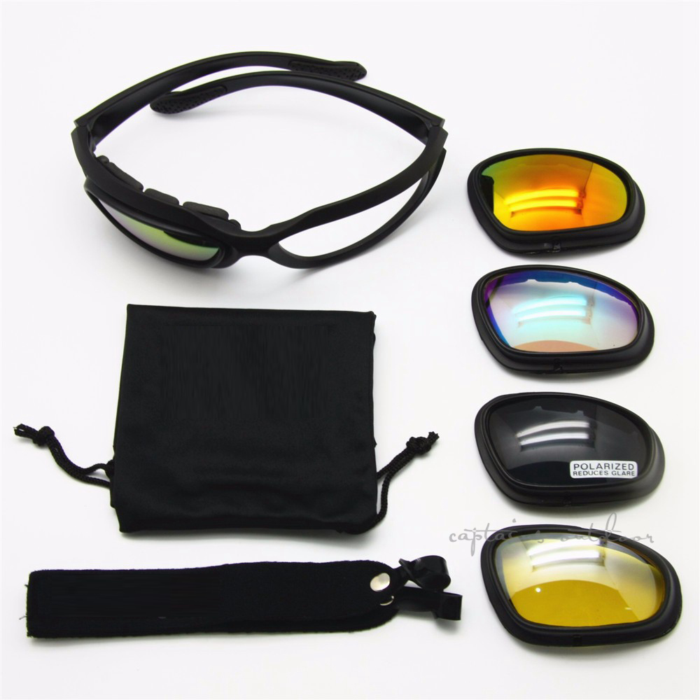 Polarized C5 Desert Sunglasses Tactical Hunting Goggles Outds